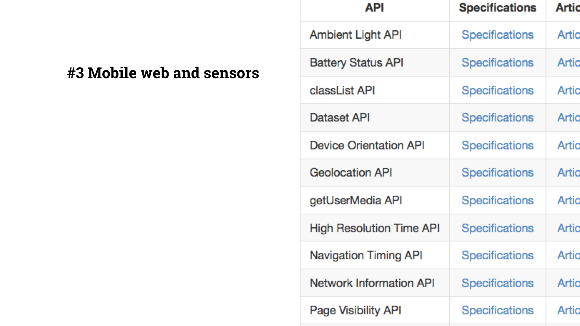 Slide 4 - Mobile web and sensors - screen grab of github repo showing list of HTML5 APIs including battery status and page visibility